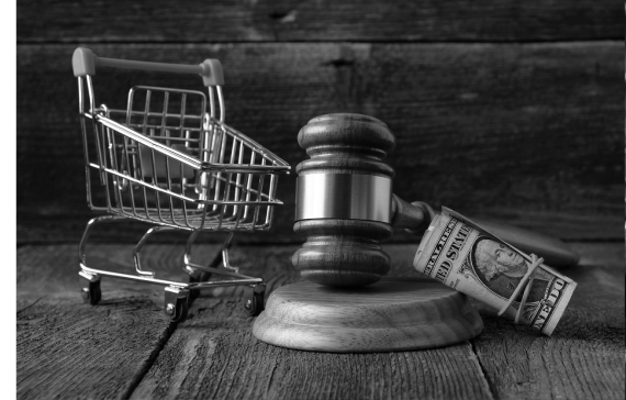 Consumer Protection Class Action Image Shopping cart with gavel and money