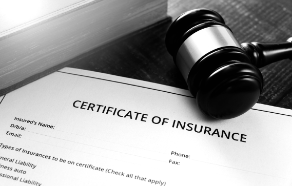 Insurance Disputes Class Action Image Gavel with Insurance Certificate